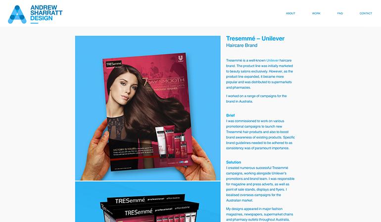 Andrew Sharratt Design website revamp - Tresemme work